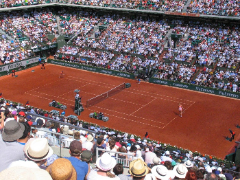 Courtside during the French Open at Rolland-Garros stadium in Paris. Greg Roensch photos.