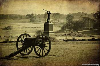 An 1860s photo of a battle canon at Gettysburg, PA.