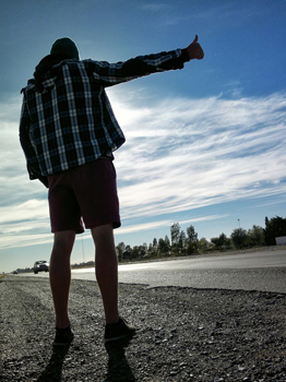 Hitchhiking on the road to Sierra Grande, Argentina. Zander Venter photos.