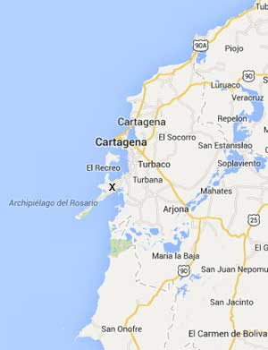 Islas Baru is located on the peninsula below Cartagena, in the north of the country.