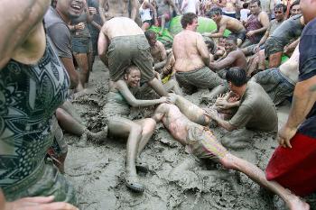 A muddy group shot.