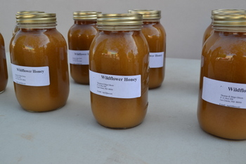 Honey for sale at Las Cruces Farmers Market