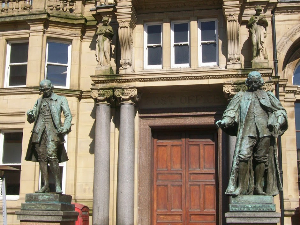City Square statues in downtown Leeds.