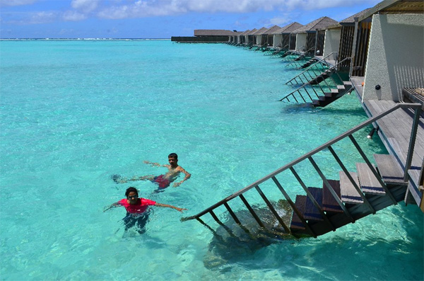 swimming in the Maldives.