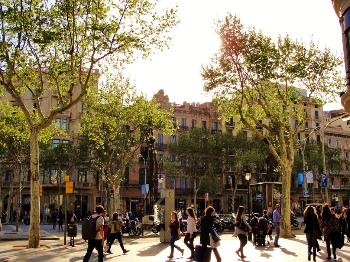 barcelona street scene.