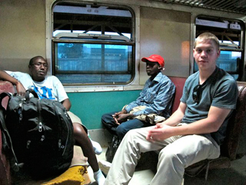 The Muzungas and a Kenyan on the train.