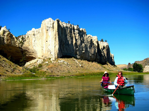 Paddling the Missouri River.