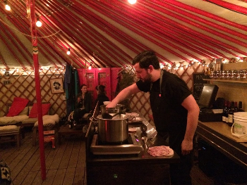 Drinking grog in the yurt on a Montreal rooftop. Jeff Rutherford photos.