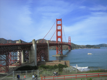 The iconic Golden Gate bridge from San Francisco to Marin County.