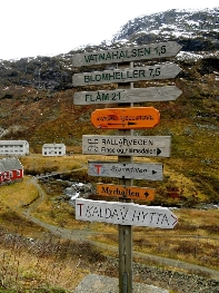 Signs on a hike from Myrdal to Flam, Norway. photo by Autumn Thomas.