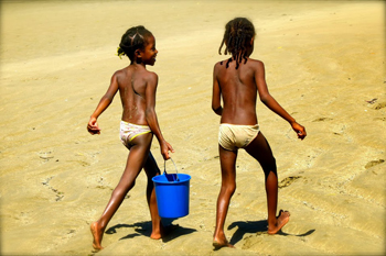 Girls on the beach in Nosy Be, Madagascar.