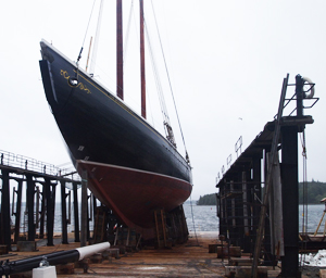 The beloved Bluenose schooner in drydock in Lunenburg NS.