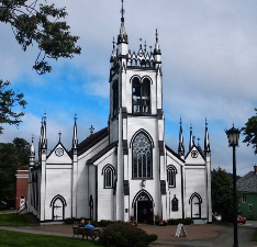 The striking St James Church in Lunenburg, which was rebuilt entirely after a fire gutted the original 1800s building.