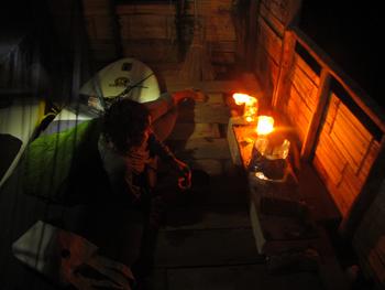 An old cabin provided a cozy shelter to escape the rough seas, Gluay Teun Bay, eastern shore Koh Tao.
