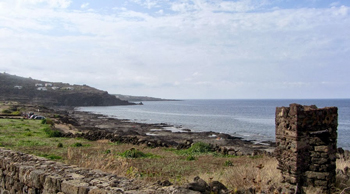 This is what passes for a beach--very rocky--on Pantelleria.