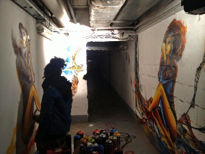'Doo Style', an artist tagging the basement levels at Le Bloc.