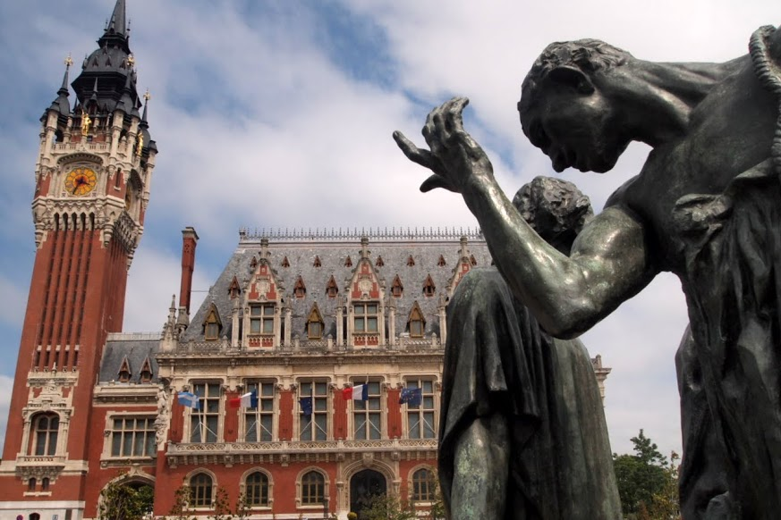 Calais town hall, with Rodin sculpture.