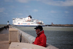 Ferry entering the harbor at Calais.