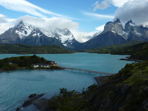 View looking down on Hosteria Pehoe in Torres del Paine.