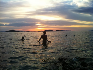 Swimming in Prisnjak Lighthouse island.