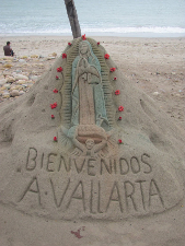 Sand sculpture on a beach in Puerto Vallarta, Mexico. Bonnie Way photo.