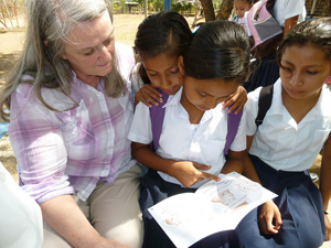 Nicaraguan girls learning to read. photos by Jane Mirandette.