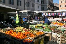 Campo dei Fiori fruit market in Rome.