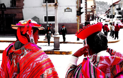 Cusco couple in traditional dress.