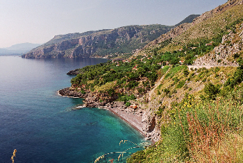 The rugged coast of Sardinia, Italy, in the Mediterranean Sea.
