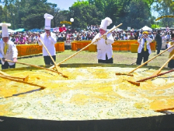 The world's largest omelette, a yearly ritual in Pigue, Argentina.