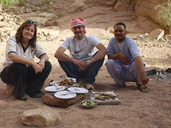 Dining in the Sinai with the two guides and Hilary Munro.