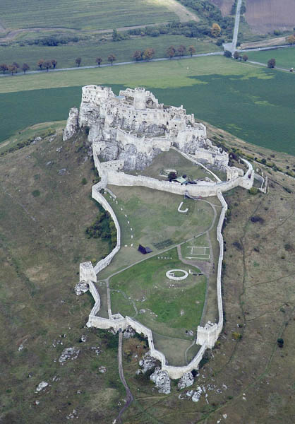 Spic Castle in Slovakia - one of the largest castles in Central Europe. An aerial photography documents its enlargement in the course of 11th - 17th centuries.
