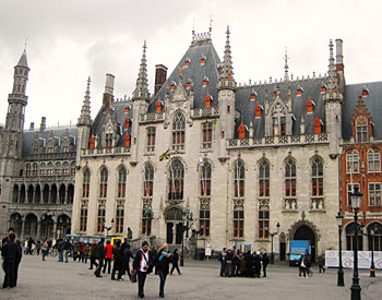 spires of the Provincial Administration building in Bruges, Belgium