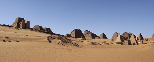 A panorama of the pyramids.
