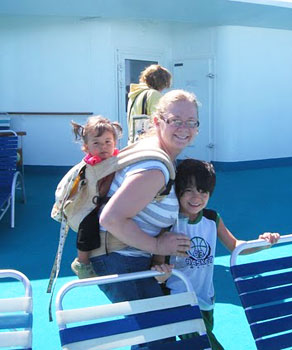 Mommy and kids on a Carnival cruise ship. More and more inter-generational travel will take place in 2014.