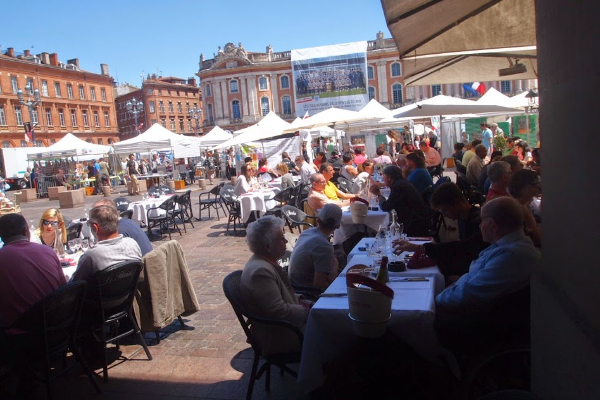 Cafes surround Capitole Square, where festivals take place all year long.