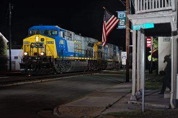Night freight through Ashland VA. photo: Town of Ashland