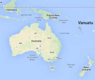 Vauatu is located north of Australia.