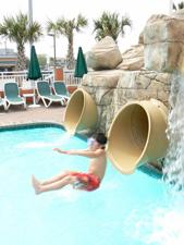 Splish splash at the water park.