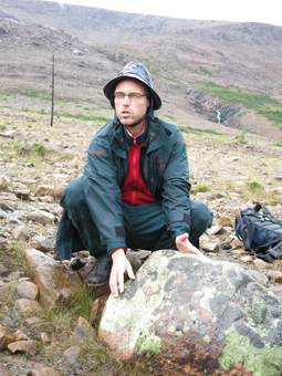 Cedric Davignon explaining rocks at Tablelands. photo: Margie Goldsmith