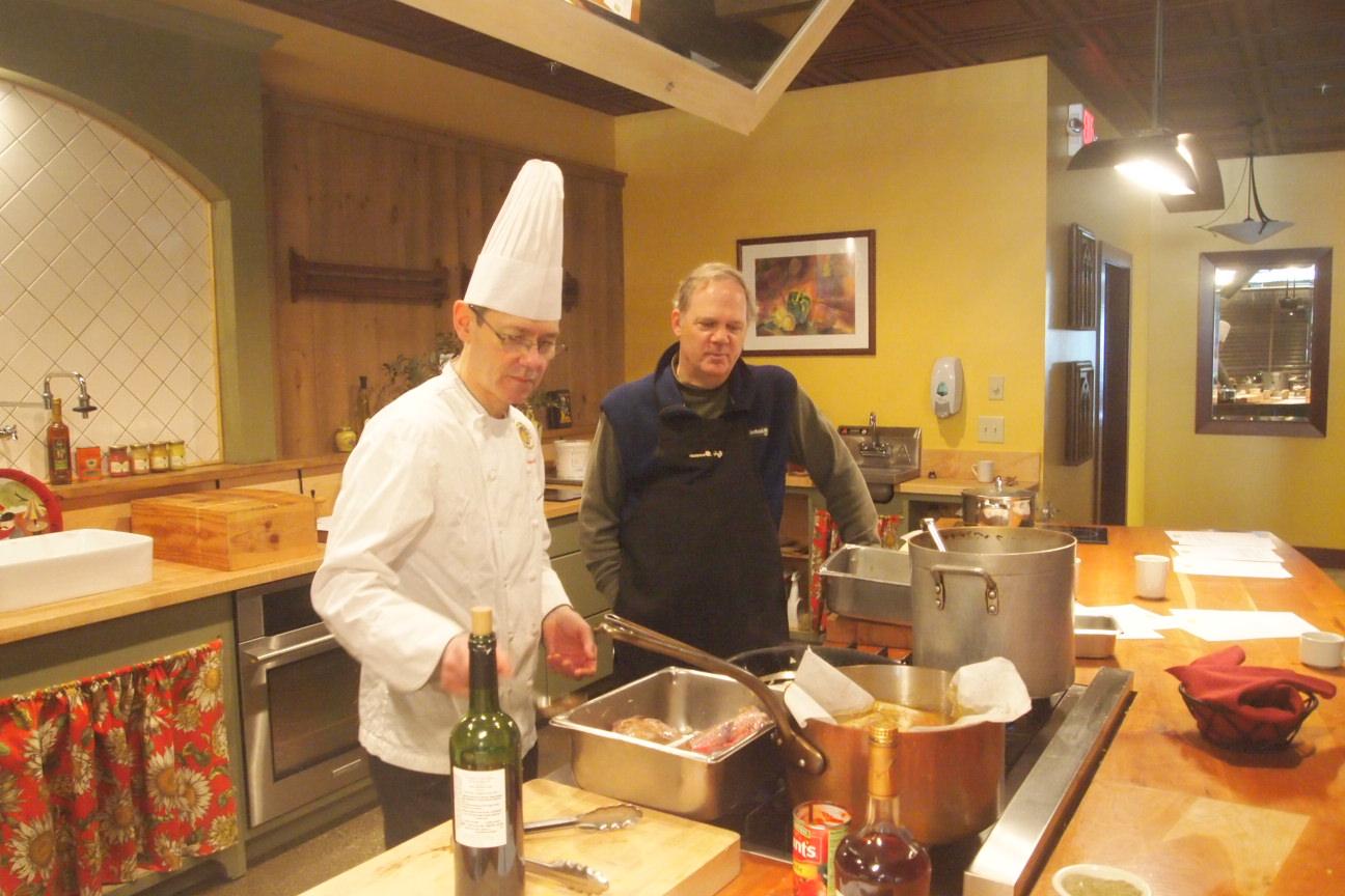 Max Hartshorne cooking with Chef Robert Barral in Brandon, Vermont.