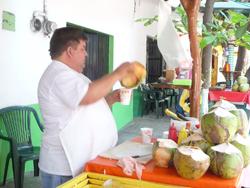 Fresh coconut juice in Puerto Vallarta. Cindy Bigras photo.