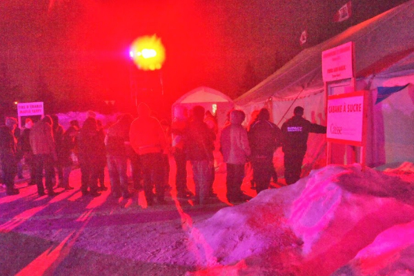 Fans waiting in line to hear Royal Canoe at the Festival du Voyageurs, Winnipeg.