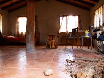 Interior Nelson's abode.