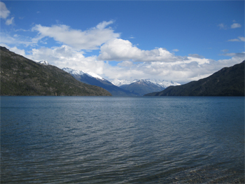 The lake and the dramatic scenery of Patagonia.