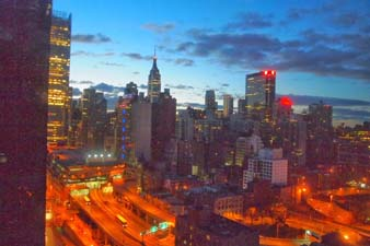 NYC skyline from the 25th floor of Yotel, NYC.