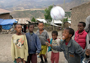 A welcome gift - Kids play with a new soccer ball in Ethiopia.