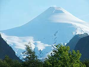 A snow-capped volcano in Chile's Lake District
