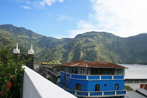 The view from the rooftop restaurant at the Hostal Plantas y Blanco in Baños
