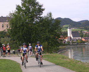 Biking through a village in Austria